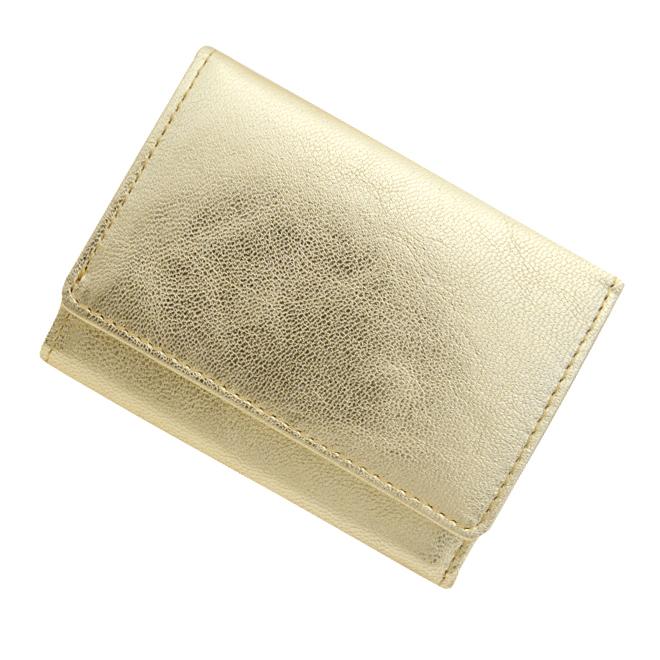 極小財布 ゴートスキン/山羊革(メタリックゴールド)BECKER(ベッカー)日本製 ミニ財布/本革/三つ折り/小さい/レディース/メンズ/ 税込 \14,300