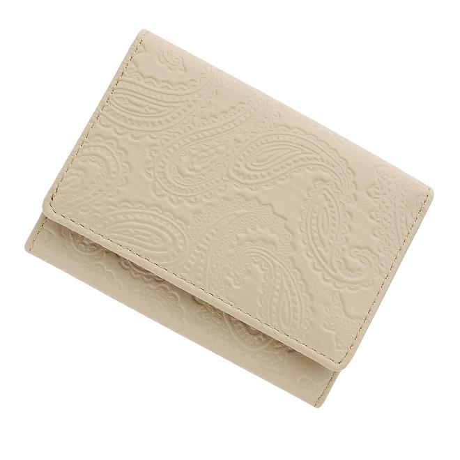 極小財布 スムース/牛革 ペイズリー型押し ベージュ BECKER(ベッカー)日本製 ミニ財布/本革/三つ折り/小さい/レディース/メンズ/ 税込 \15,400