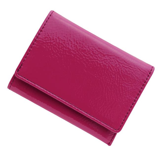 極小財布 エナメル(マゼンタ)ベーシック型小銭入れ BECKER(ベッカー)日本製 ミニ財布/本革財布/三つ折り財布/小さい財布 税込 \13,200