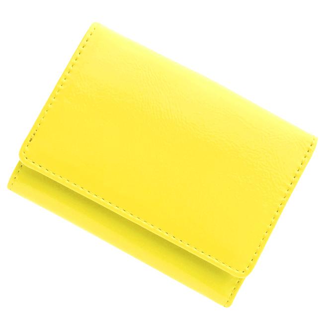 極小財布 エナメル/牛革(イエロー)ベーシック型小銭入れ BECKER(ベッカー)日本製
