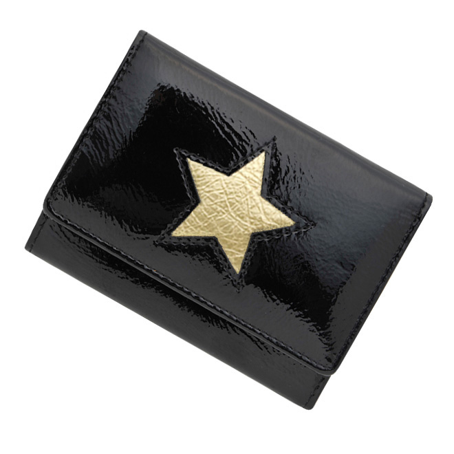極小財布 進藤やす子コラボ「エナメル」星型抜き 牛革(ブラック) \15,400(税込) 日本製 ミニ財布/本革財布/三つ折り財布/小さい財布