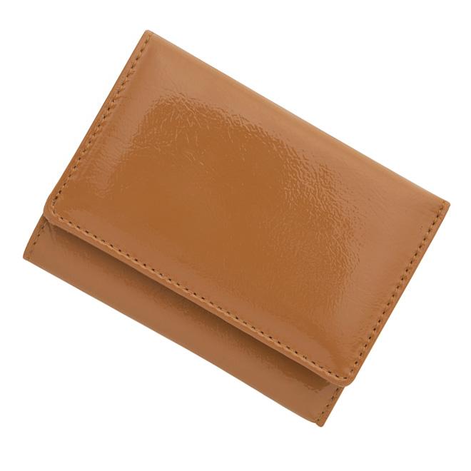 極小財布 進藤やす子コラボ「エナメル」キャメル BECKER(ベッカー)日本製 \15,400(税込) 日本製 ミニ財布/本革財布/三つ折り財布/小さい財布