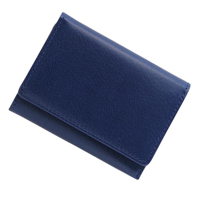 極小財布 バッファローレザー(ブルー)ベーシック型小銭入れ 水牛革 BECKER(ベッカー)日本製 ミニ財布/本革/三つ折り/レディース/ 税込 \14,300
