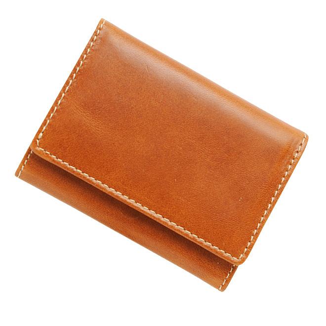 極小財布 トスカーナレザー/牛革 キャメル ベーシック型小銭入れ BECKER(ベッカー) 日本製