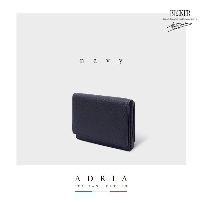 極小財布 ボックス型 イタリアンレザー/ADRIA ネイビー BECKER(ベッカー)日本製
