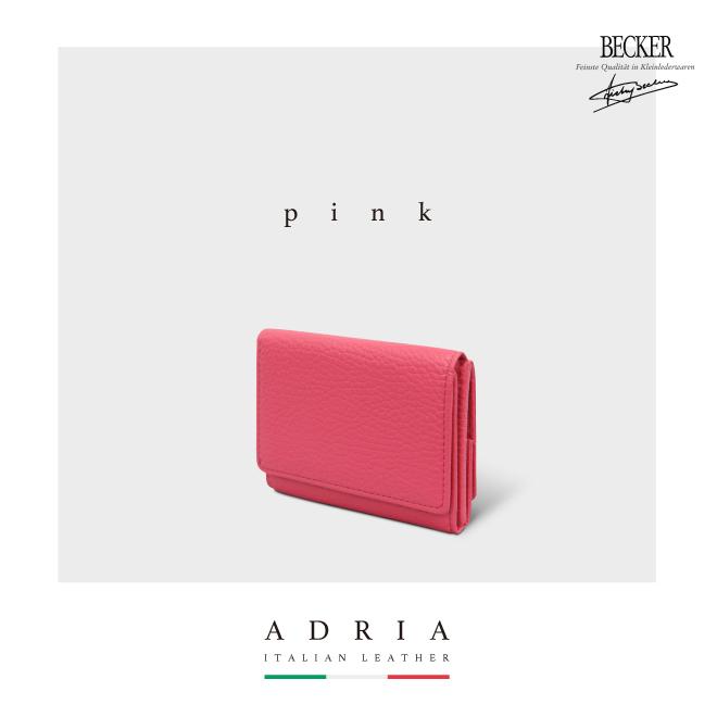極小財布 ボックス型 イタリアンレザー/ADRIA ピンク BECKER(ベッカー)日本製
