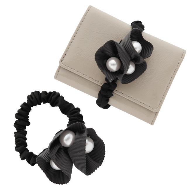 極小財布カスタムアイテムミニ財布小さい財布パール付きグログランフラワーシュシュ 日本製