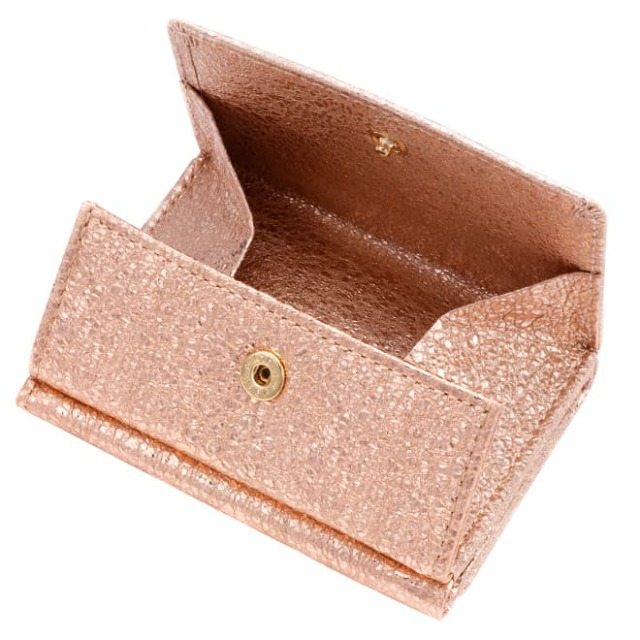 極小財布 BOX型小銭入れ グリッター ゴートスキン/山羊革 ピンク BECKER(ベッカー) 日本製 15,400円(税込)