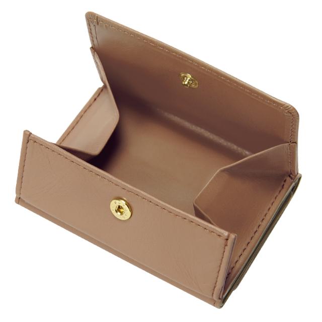 極小財布 BOX型小銭入れ スムース/牛革 グレージュ BECKER(ベッカー) 日本製 税込 \16,500