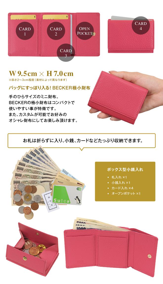 極小財布 ボックス型 イタリアンレザー/ADRIA ネイビー BECKER(ベッカー)日本製 ミニ財布 本革財布 三つ折り財布